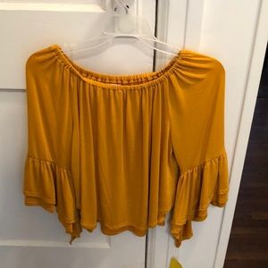 Mustard Flowy Top With Flare Sleeves